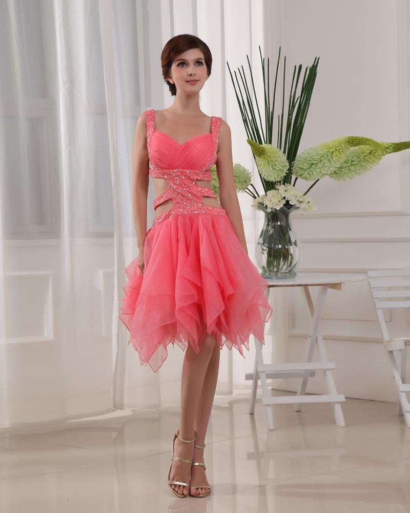 Shouder Straps Sleeveless Belt Beading Knee Length Organza Silk Elastic Silk Like Satin Woman Prom C