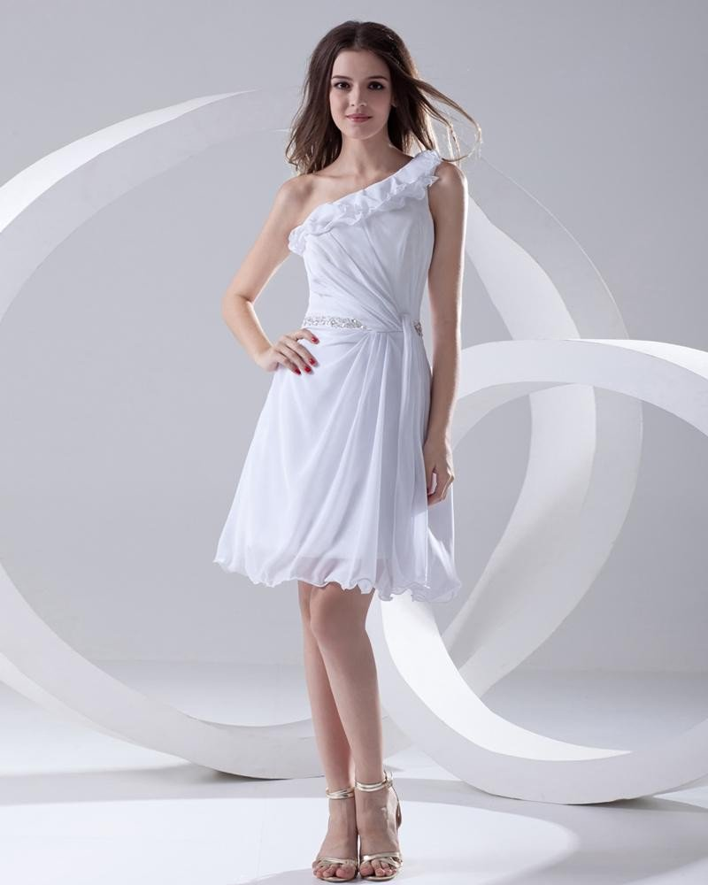 Sleeveless Sloping Neckline Thigh Length Pleated Beading Chiffon Woman Little Black Cocktail Dress