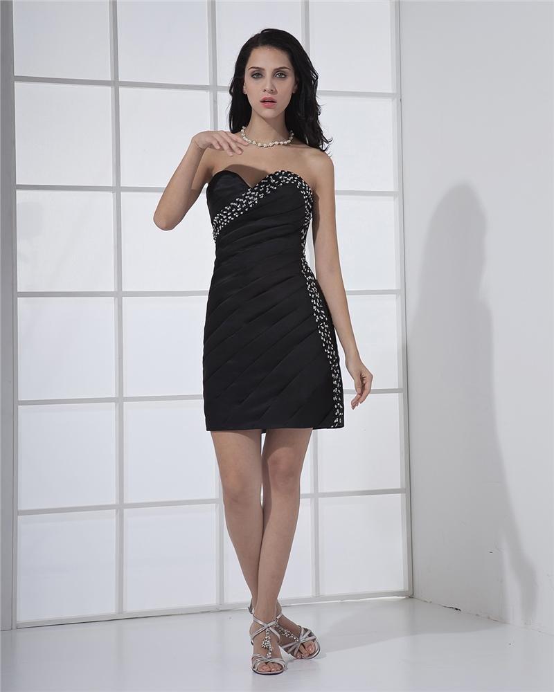 Satin Taffeta Ruffles Beading Sleeveless Sweetheart Little Black Cocktail Dresses