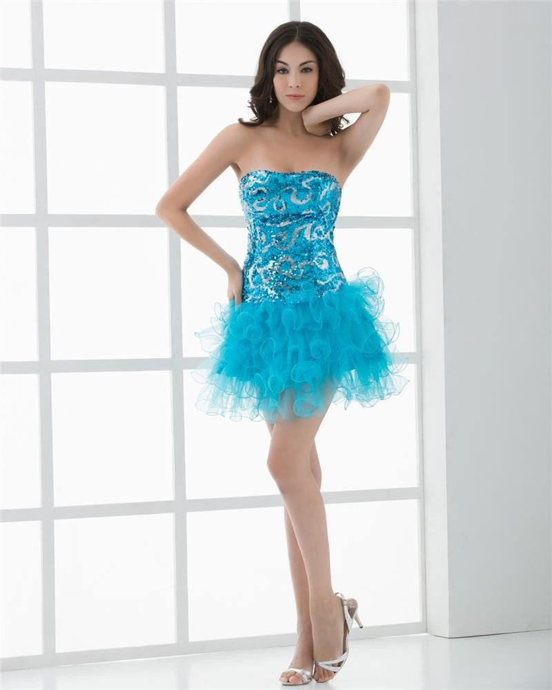 Strapless Thigh Length Sequin Decoration Tulle Cocktail Dress