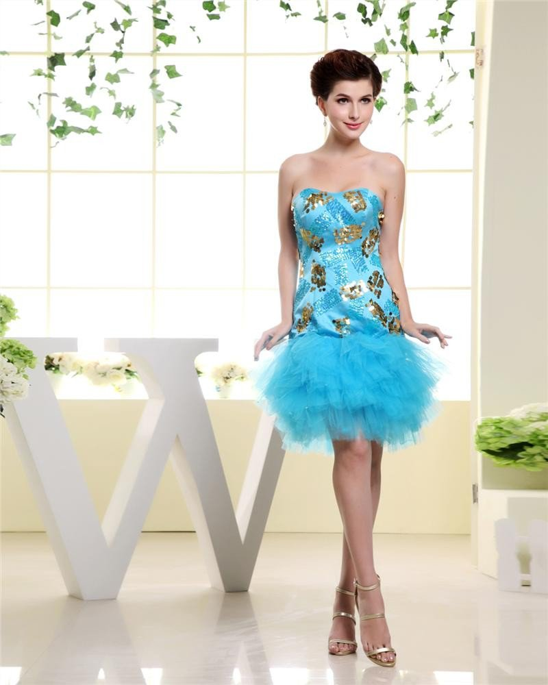 Strapless Neckline Thigh Length Tiered Tulle Paillette Charmeuse Woman Cocktail Dress