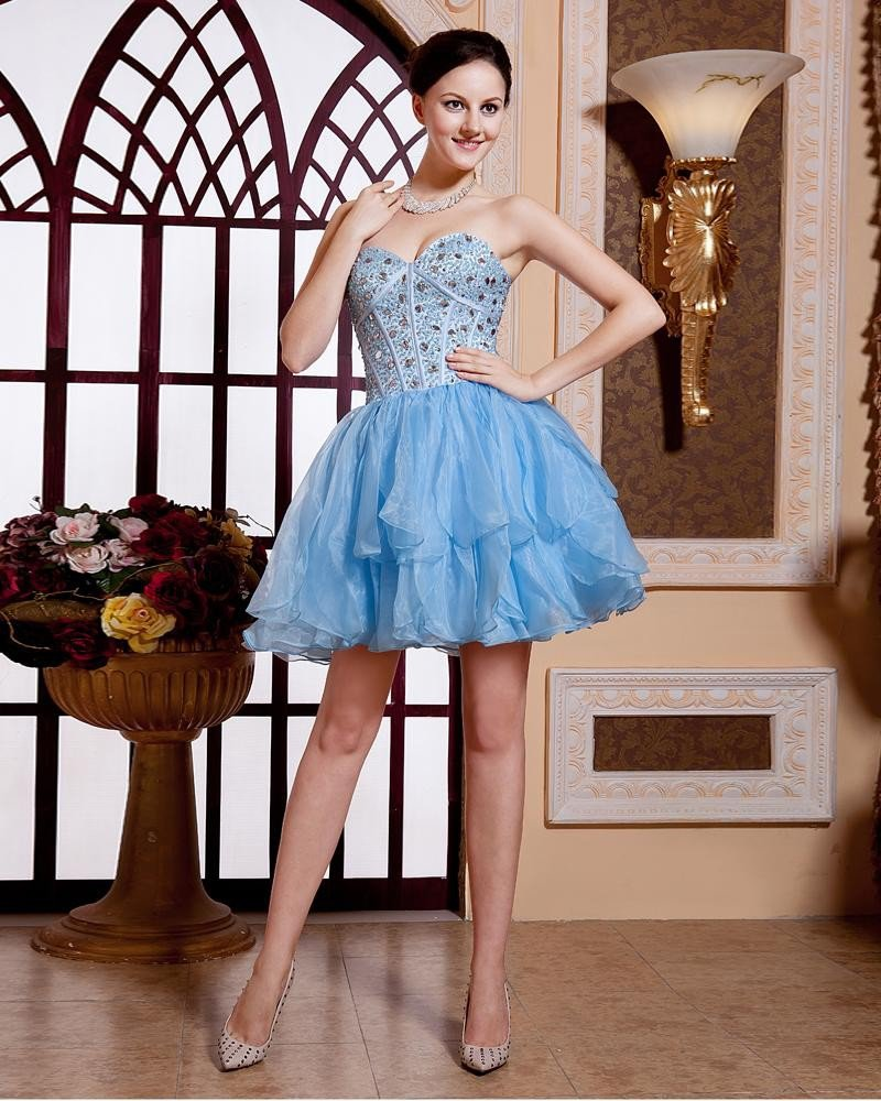 Organza Sweetheart Ruffle Beaded Thigh Length Celebrity Cocktail Dresses