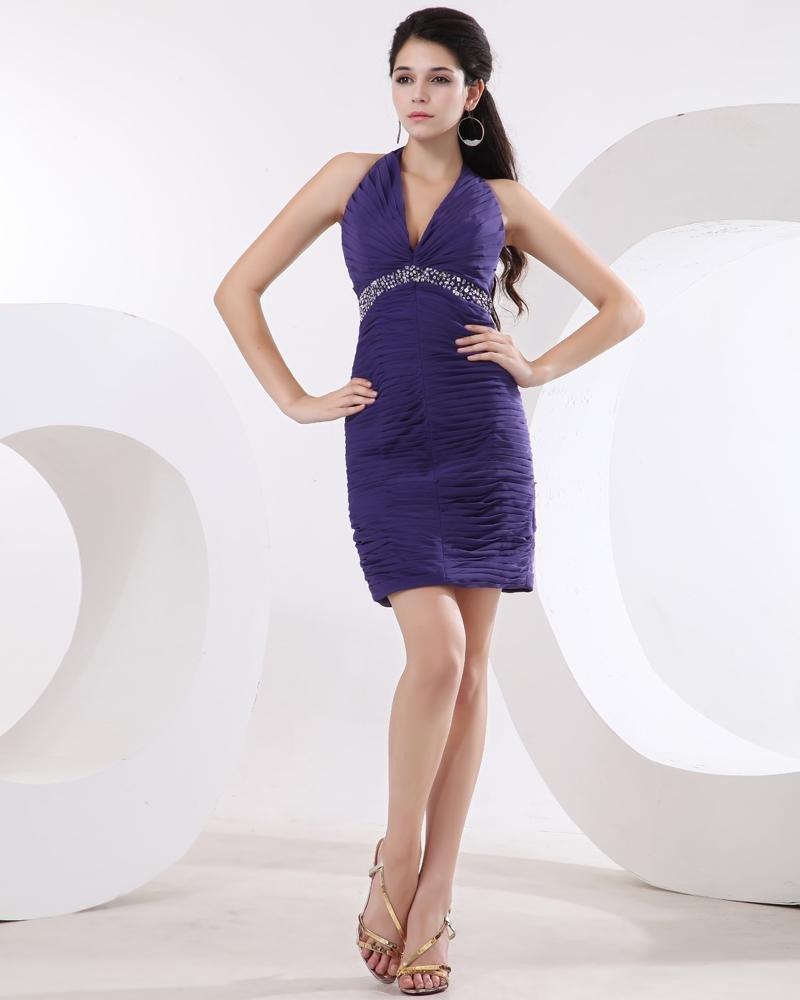 Halter Chiffon Pleated Beading Thigh Length Cocktail Dresses