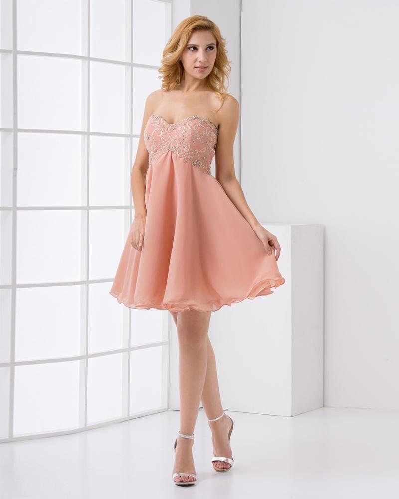 Chiffon Embroidered Beadings Sweetheart Sleeveless Backless Mini Pleated Cocktail Dress
