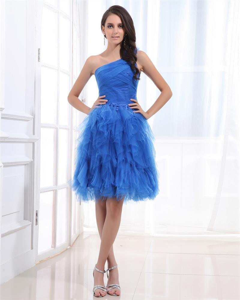 Gauze Sloping Sleeveless Zipper Ruffle Knee Length Tiered Cocktail Dress