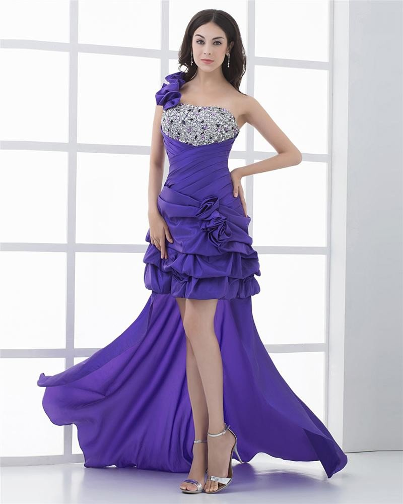 Asymetrical Length One Shoulder Flower Beading Pleated Taffeta High Low Prom Cocktail Dress