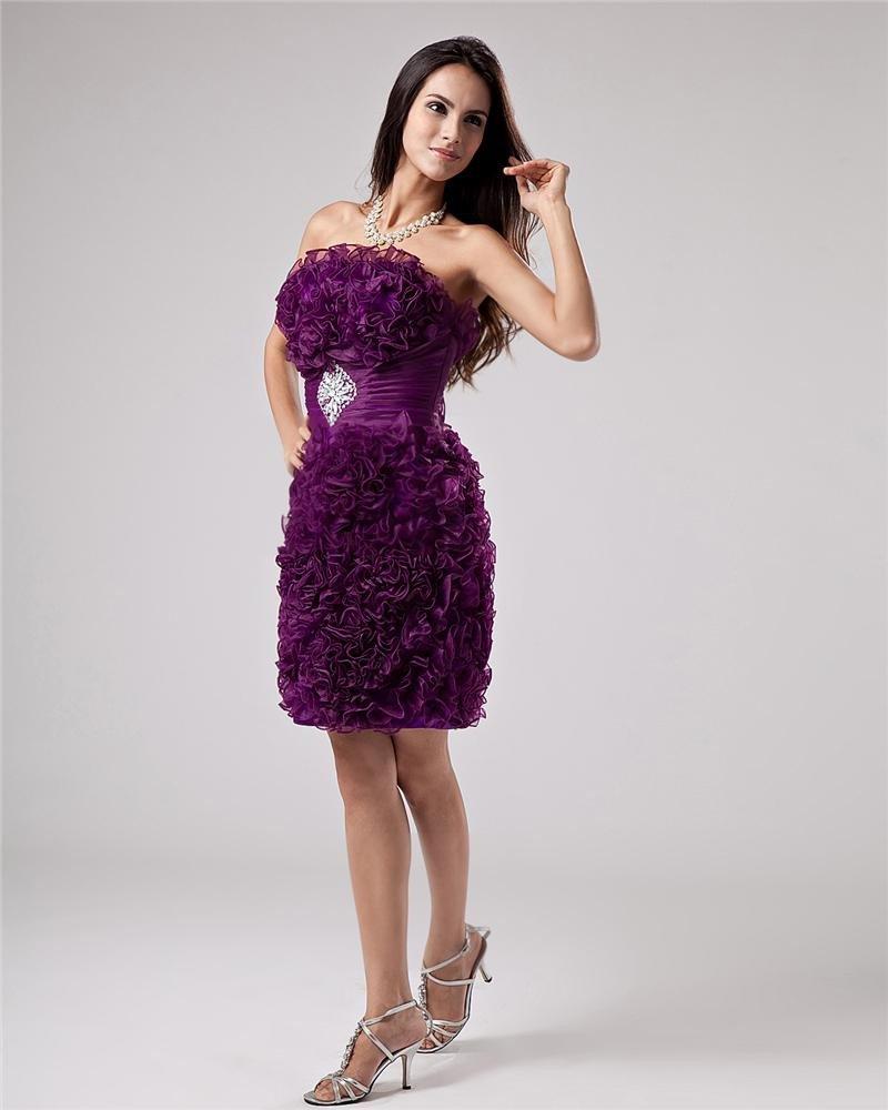 Organza Beading Flower Knee Length Cocktail Dress