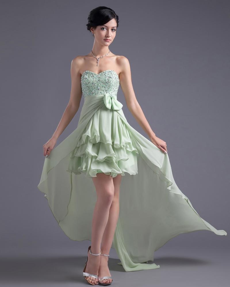 Asymetrical Length Sweetheart Ruffles Beading Bowknot Chiffon High Low Prom Cocktail Dress