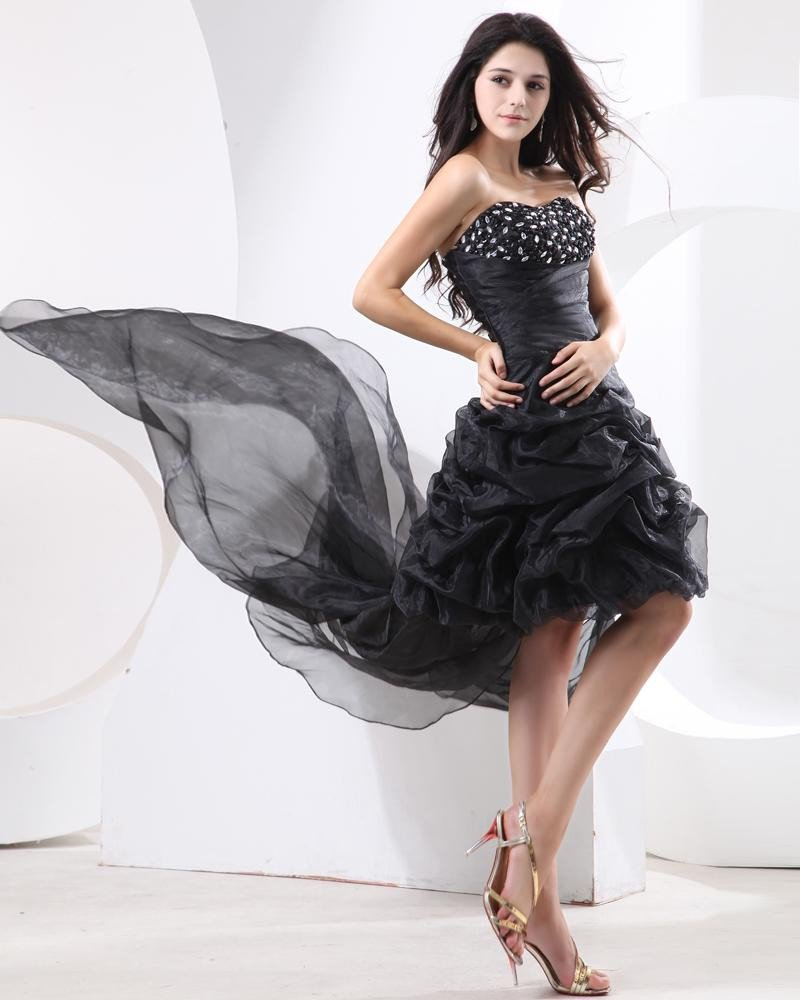 Ruffle Applique Organza Sweetheart Floor Length Cocktail Dresses