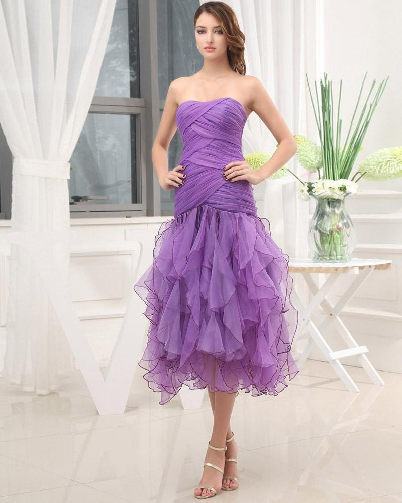 Tea Length Strapless Neckline Sleeveless Pleated Ruffles Organza Woman Prom Cocktail Dress