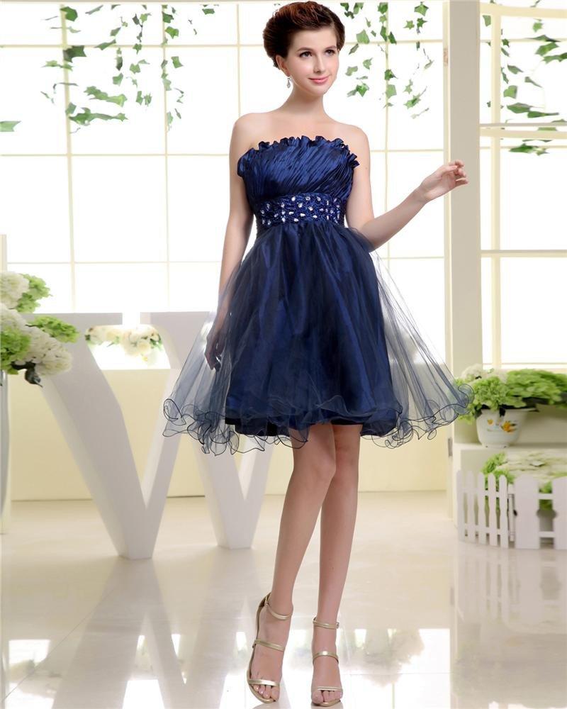 Strapless Neckline Sleeveless Thigh Length Beading Pleat Tulle Woman Cocktail Dress