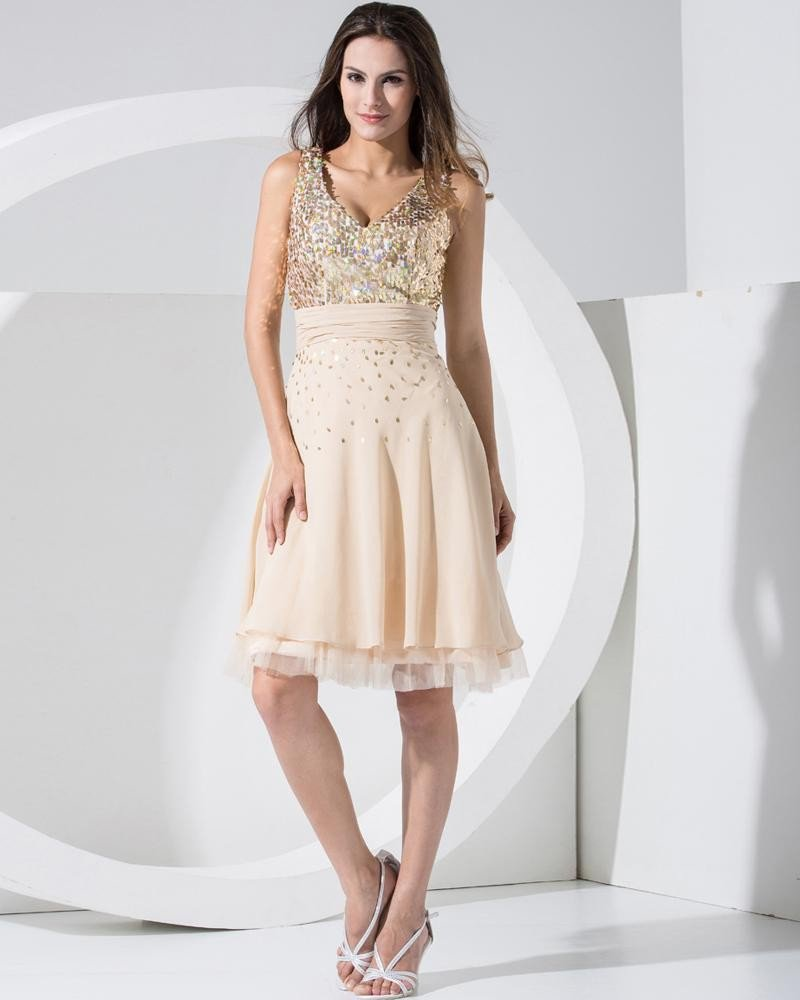Stylish Chiffon Silk Silk Like Satin Lace V Collar Back Zipper Sequins Knee Length Sleeveless Pleate