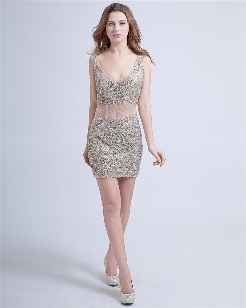 Sexy Sheath Tulle V-Neck Backless Beading Mini Cocktail Dresses