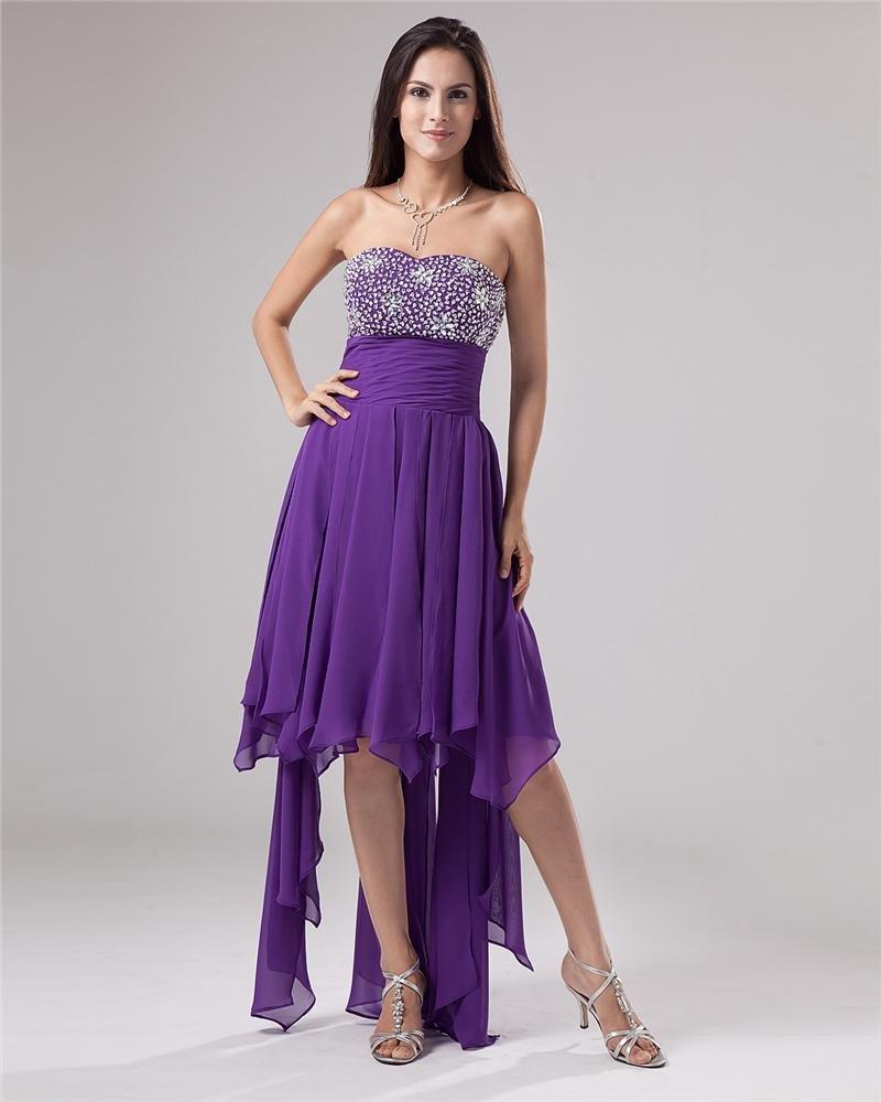 Strapless Bead Chiffon Thigh Length Cocktail Dresses