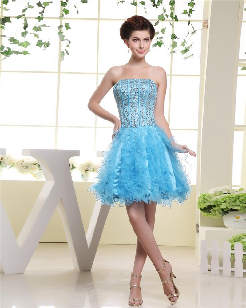 Strapless Neckline Thigh Length Beading Charmeuse Bubble Woman Cocktail Dress