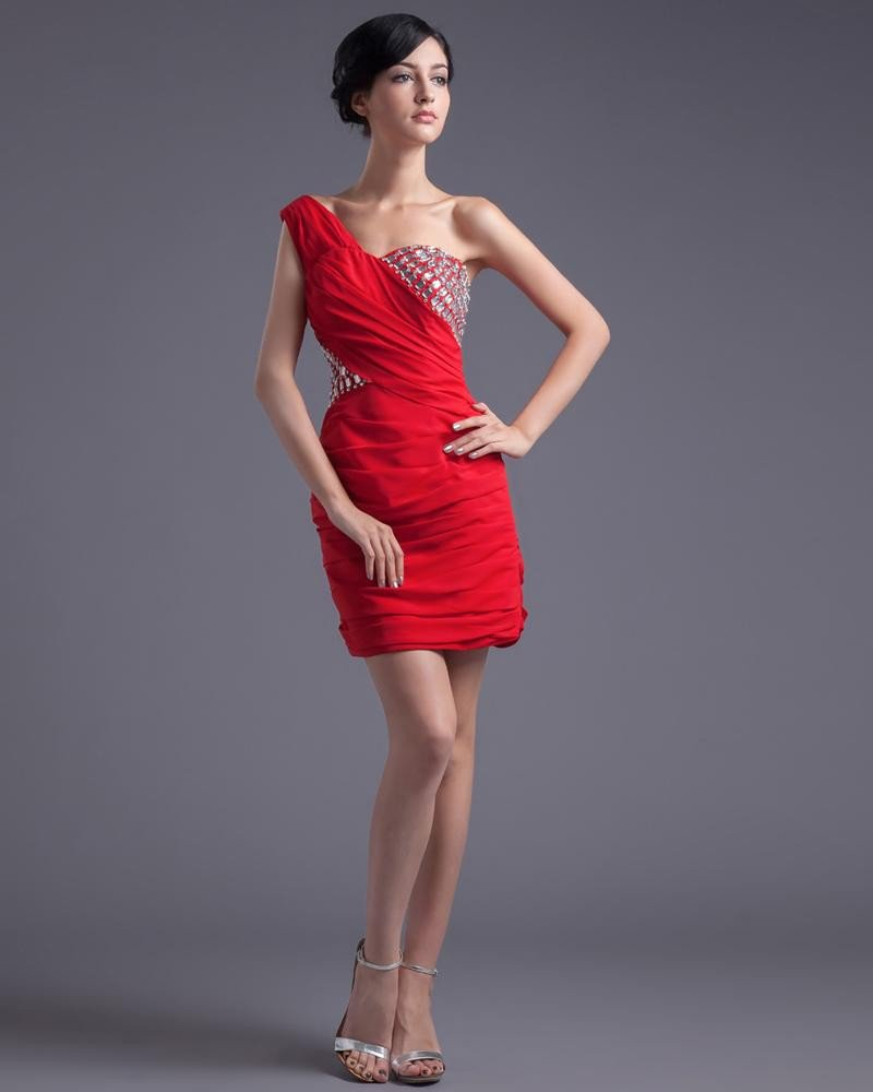 Fashion Chiffon Beaded Pleated One Shoulder Thigh Length Cocktail Dress