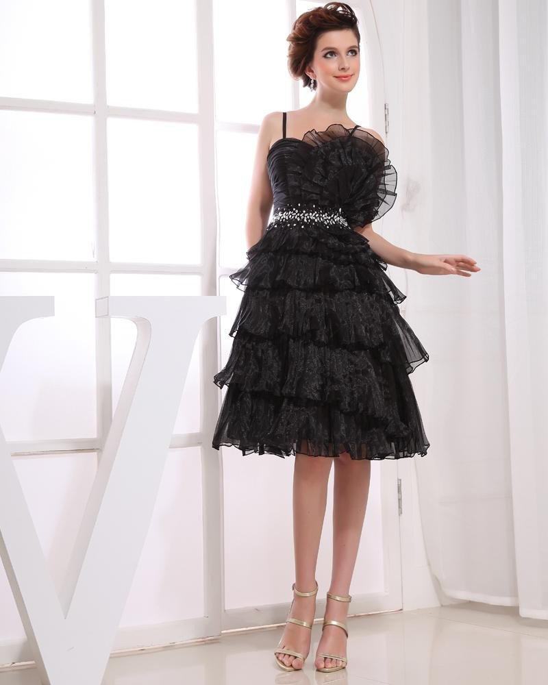 Satin Yarn Ruffle Beading Spaghetti Straps Knee Length Tiered Cocktail Dress
