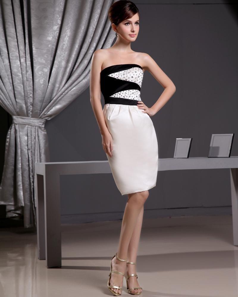Stylish Silk Silk Like Satin Strapless Beading Sleeveless Zipper Knee Length Cocktail Dress