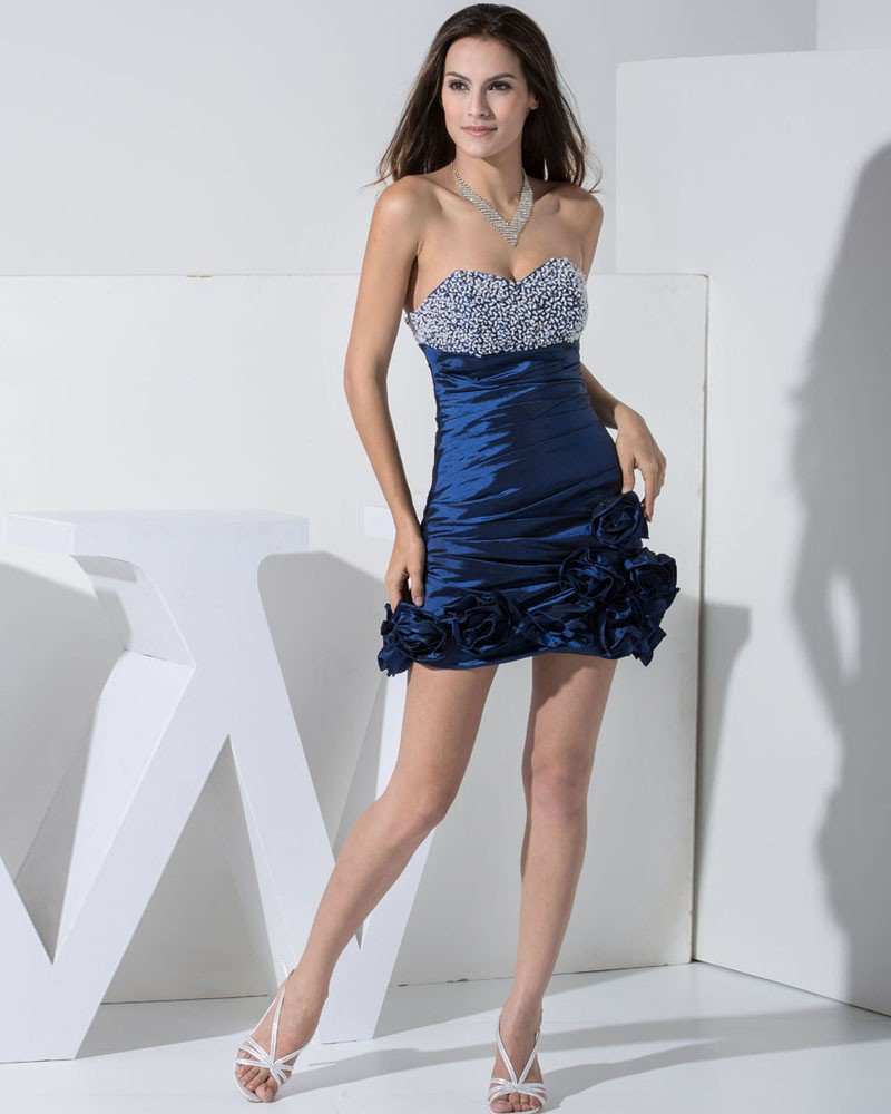 Stylish Taffeta Silk Sweetheart Beading Sleeveless Backless Mini Ruffle Cocktail Dress