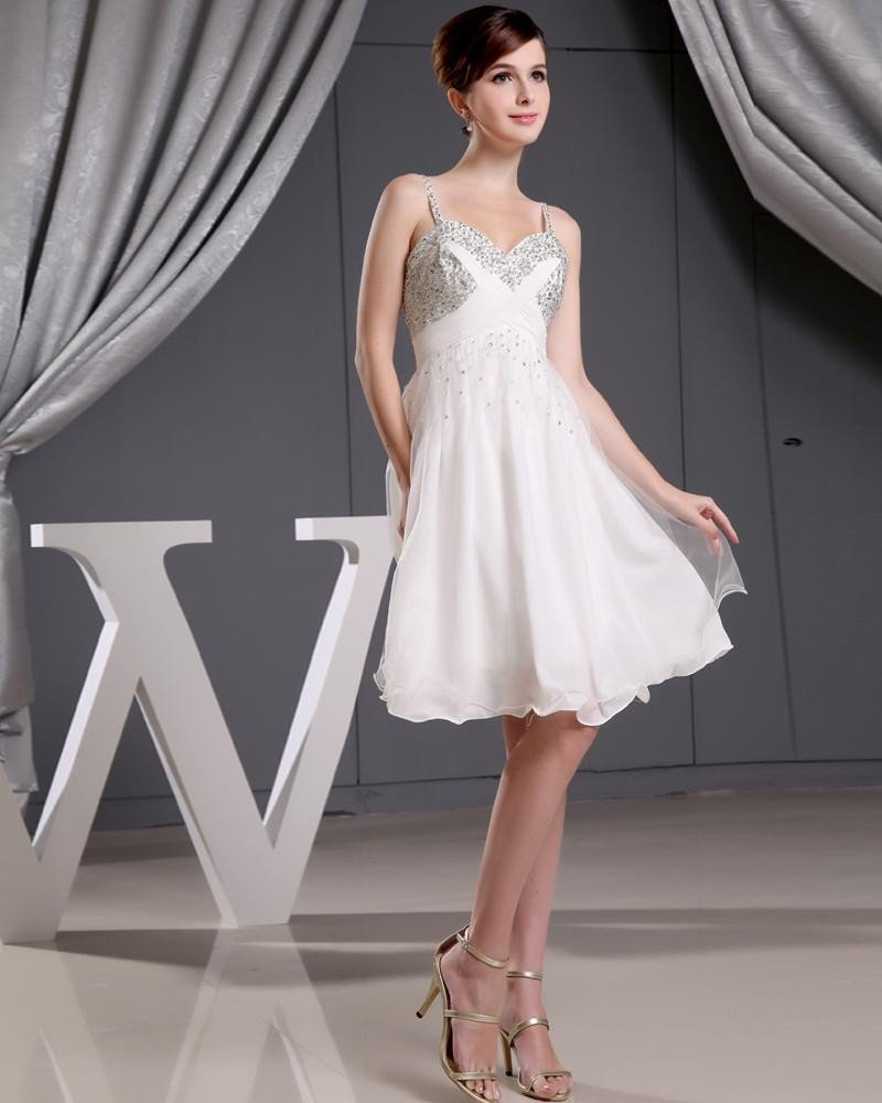 Stylish Chiffon Silk Silk Like Satin Spaghetti Straps Beading Sleeveless Zipper Knee Length Pleated