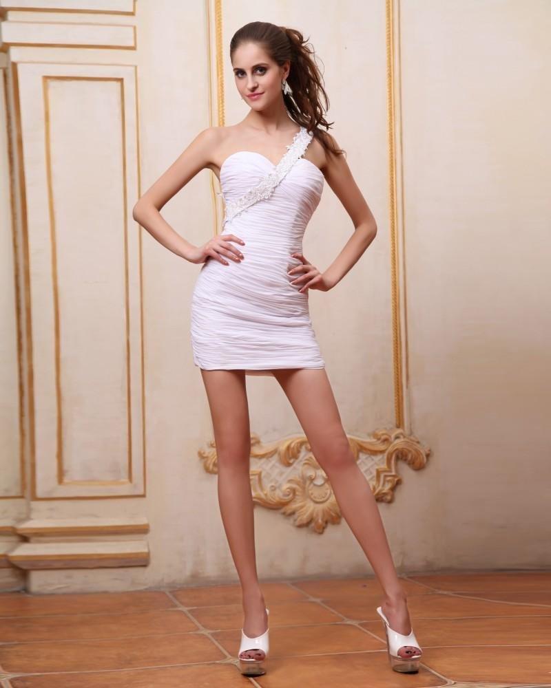 White Sleeveless Chiffon Ruffles One Shoulder Short Sexy Cocktail Dress