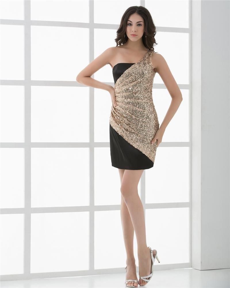 Sexy A-Line Silk One Shoulder ShortMini Women Cocktail Dress