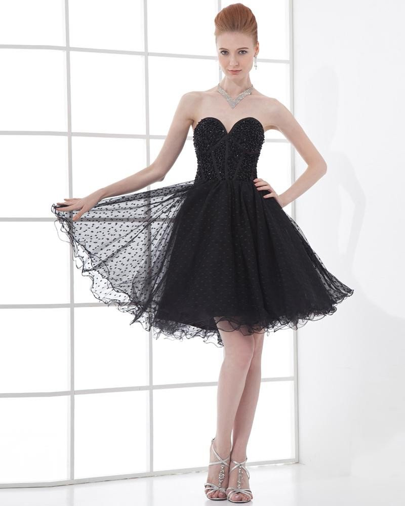 Fashion Tulle Pleated Beaded Sweetheart Thigh Length Cocktail Dress