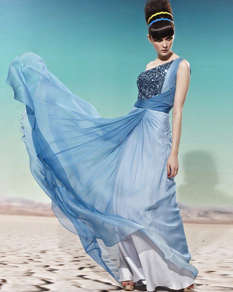 Sloping Neckline Sleeveless Floor Length Sequined Empire Tencel Woman Evening Dress