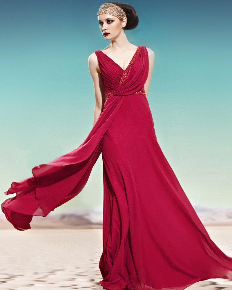 V Neck Beading Ruffle Side Zipper Sleeveless Backless Floor Length Empire Charmeuse Woman Evening Dr