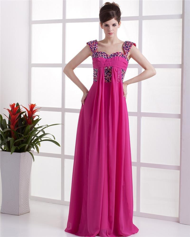 Taffeta Chiffon Layered Off-the-shoulder Floor Length Prom Dresses