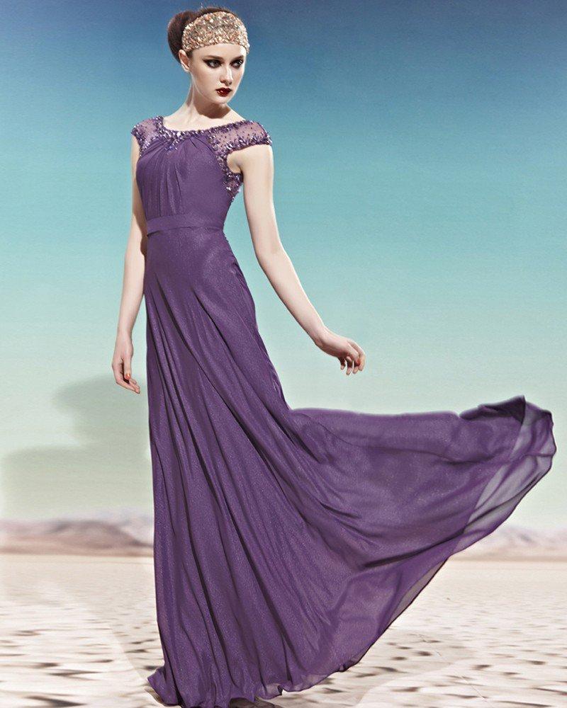 Bateau Beading Ruffle Sleeveless Zipper Floor Length Chiffon Woman Evening Dress