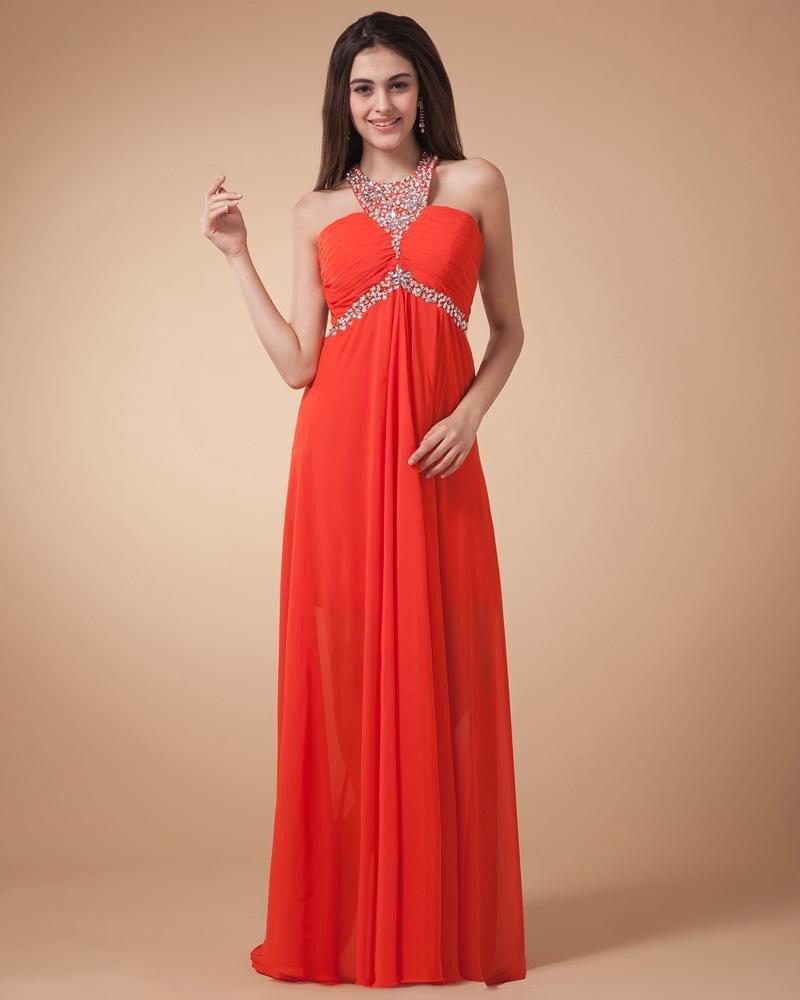 Beading Pleated Chiffon Shoulder Straps Floor Length Evening Dresses