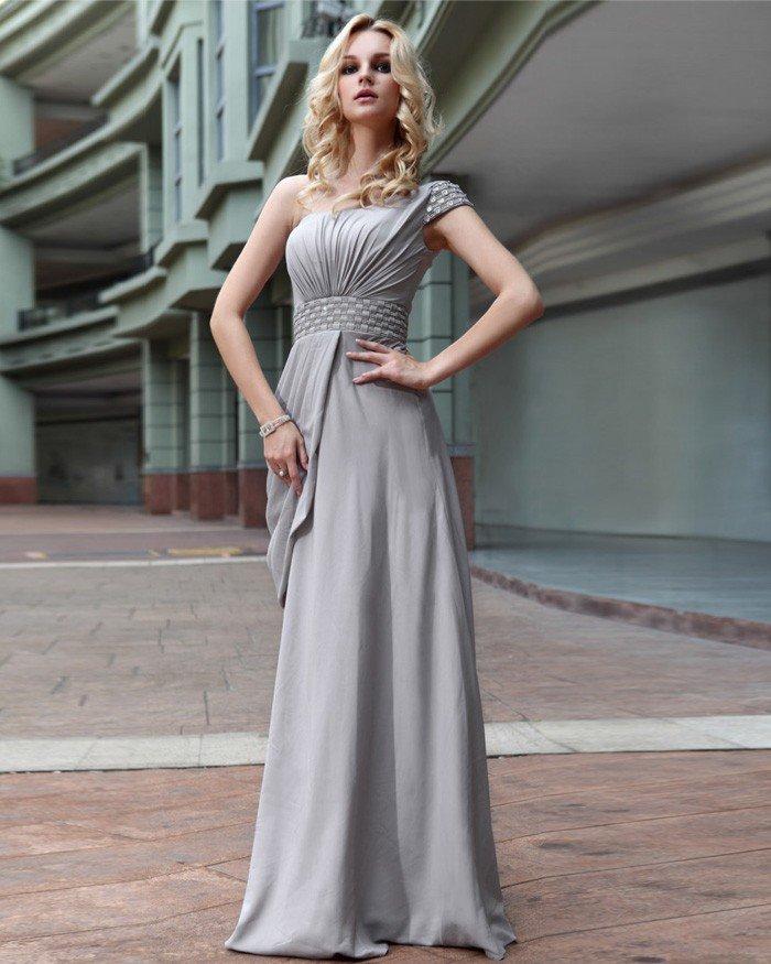 Villus One Shoulder Drape Bead Floor Length Evening Dress