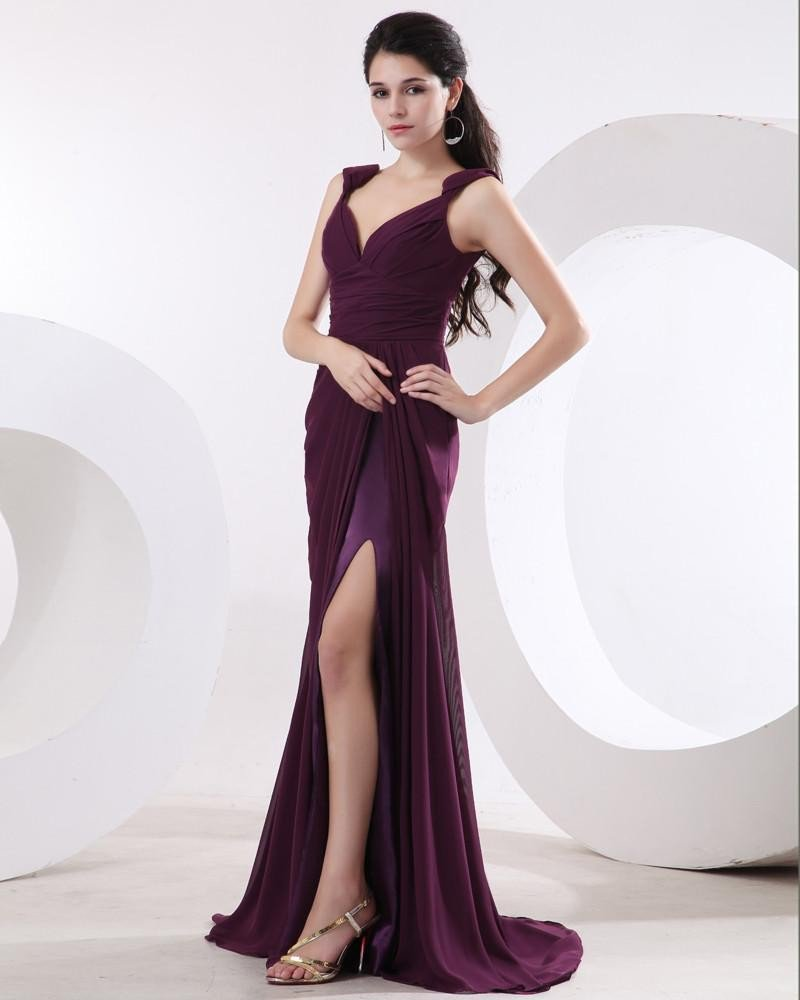 Chiffon Pleat V-Collar Sleeveless Evening Dresses