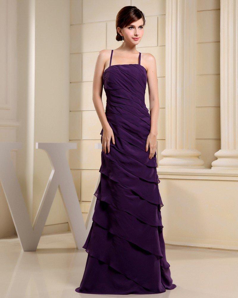 Fashion Chiffon Charmeuse Silk Pleated Spaghetti Straps Floor Length Sleeveless Women Evening Dress