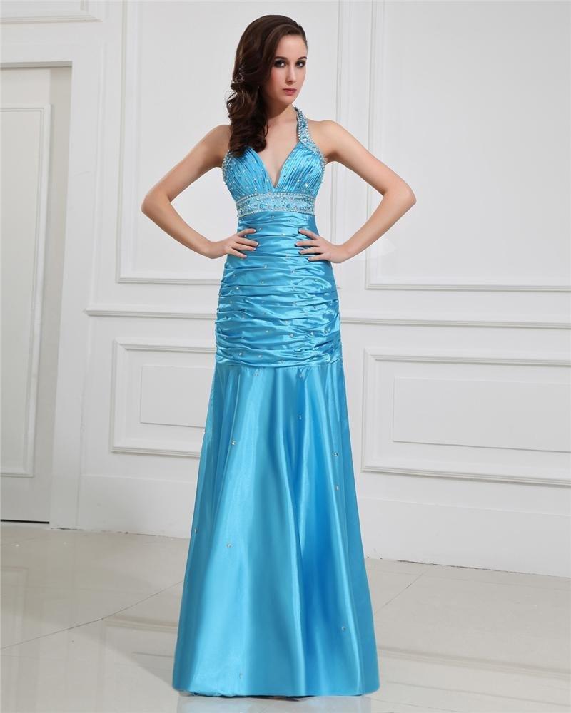 Halter V-Neck Neckline Mermaid Floor-Length Evening Dress