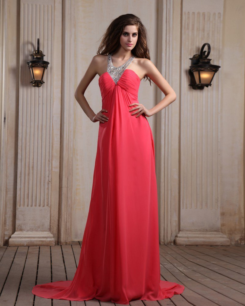 Sleeveless Chiffon Beading Halter Chapel Train Evening Dresses