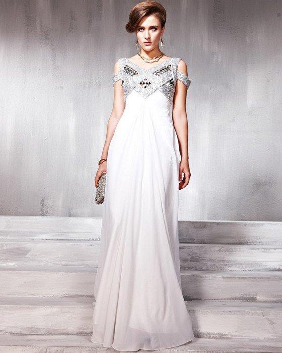 Silk Sequins Tulle Charmeuse Shoulder Straps Beading Floor Length Evening Dresses