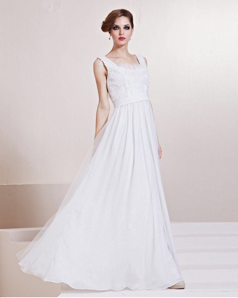 Fashion Charmeuse Shoulder Straps Floor Length Evening Dress
