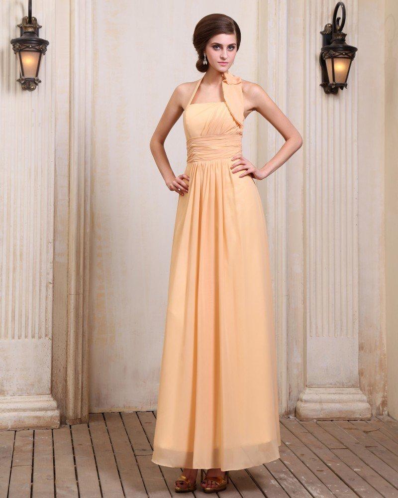 New Designer Sleeveless Chiffon Ruffles Halter Floor Length Evening Dresses