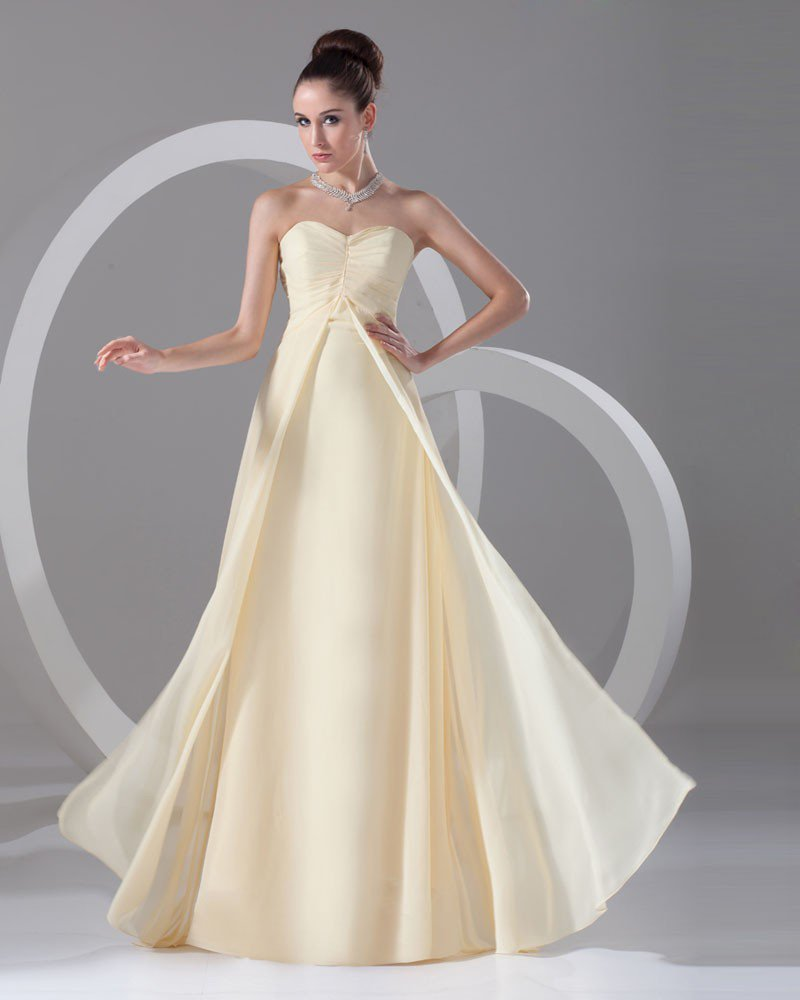 Sweetheart Pleated Floor Length Chiffon Evening Dress