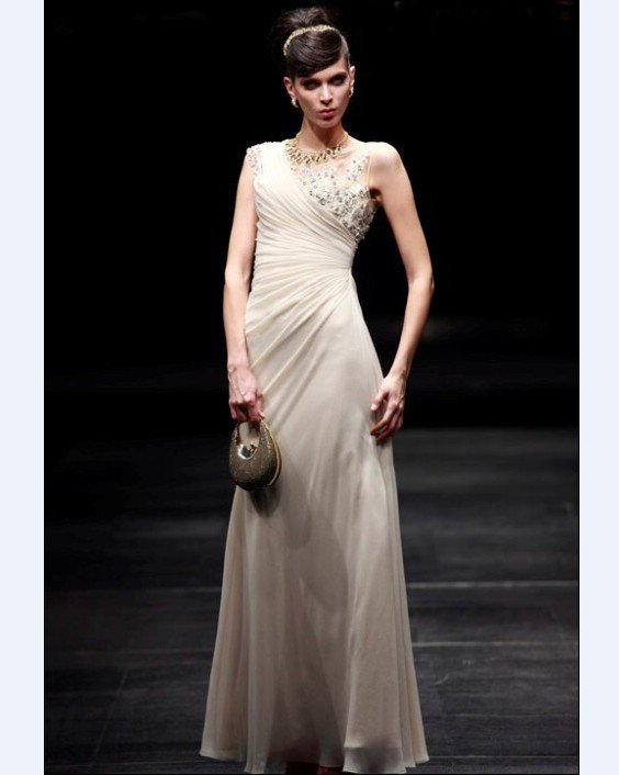 Embroidery A-line Sabrina Floor Length Women's Evening Dresses