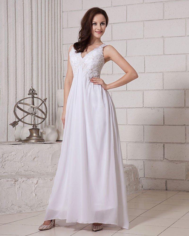 Solid Sleeveless Sleeveless V Neck Zipper Back Chiffon Evening Dresses
