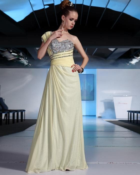 Stylish Ruffle Beaded Chiffon One Shoulder Floor Length Evening Dresses