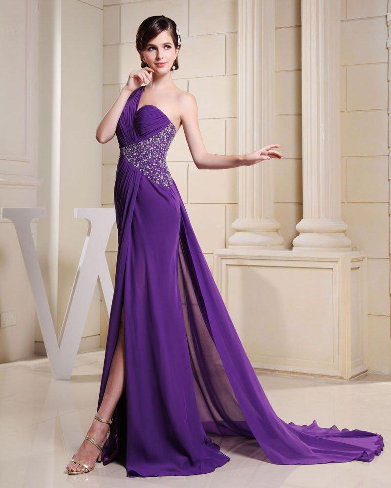 Fashion Chiffon Charmeuse Silk Pleated Beaded One Shoulder Court Train Sleeveless Women Evening Dres