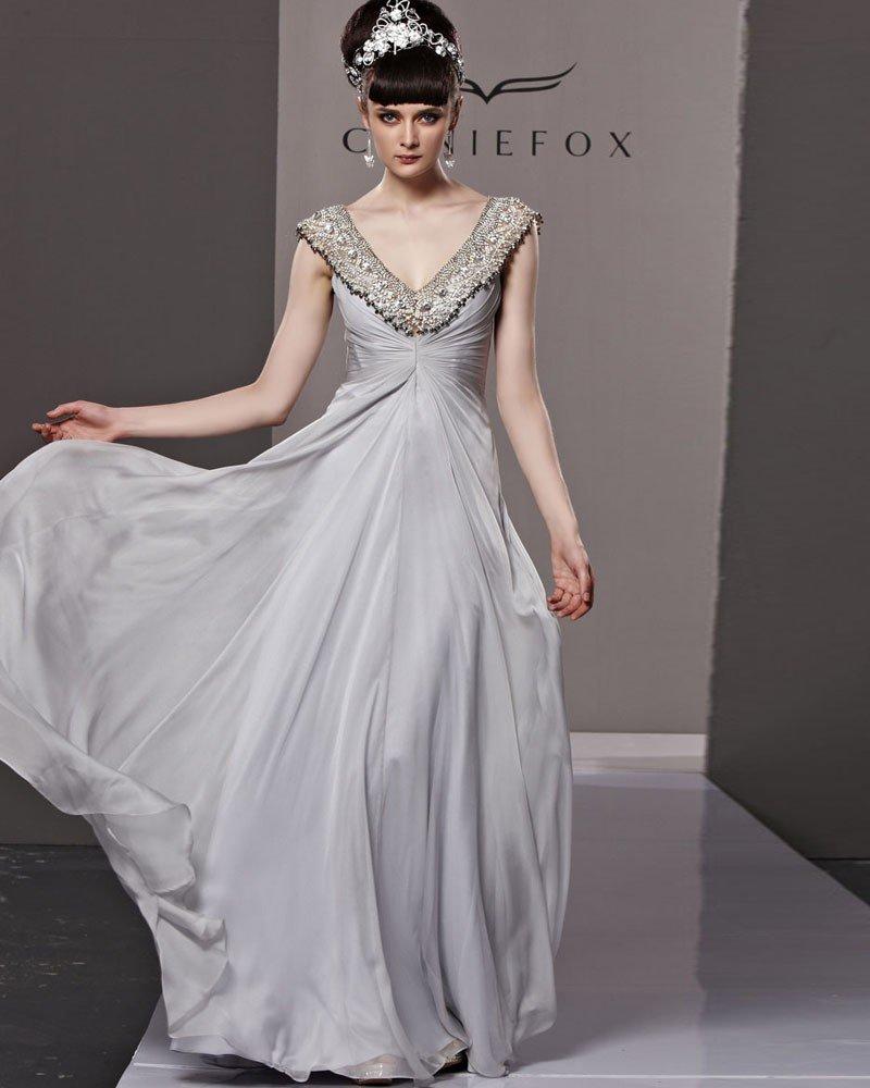V Neck Beading Sleeveless Backless Floor Length Charmeuse Woman Evening Dress