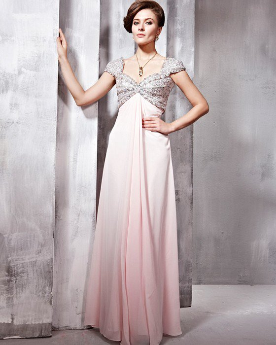 Tulle Chiffon Charmeuse Beading Sweetheart Floor Length Evening Dresses