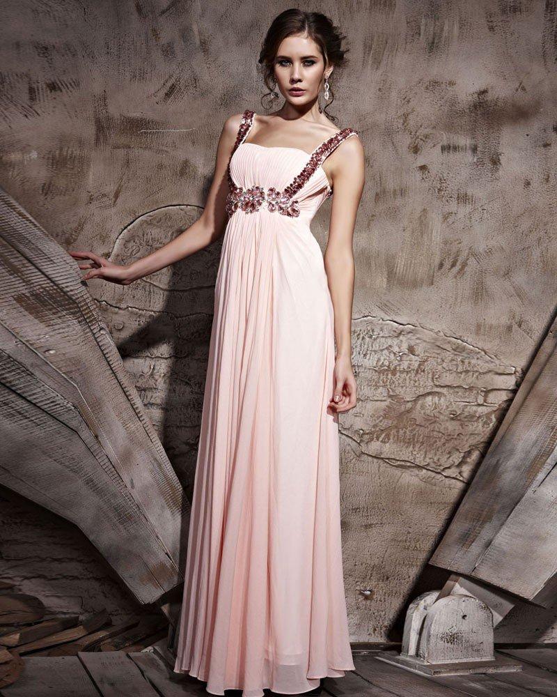Floor Length Zipper Sleeveless Chiffon Evening Dresses