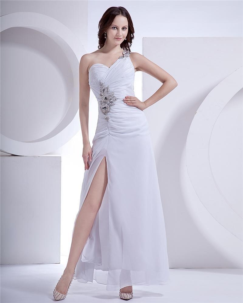 Chiffon Ruffle Beading One Shoulder Floor Length Evening Dresses