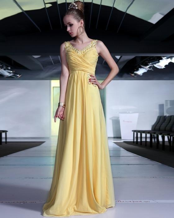Sexy Beaded Ruffle Chiffon V Neck Floor Length Evening Dresses